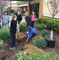 Arbor Day tree planting at Joy School