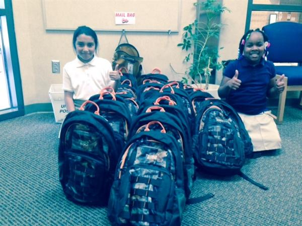 backpacks in front office