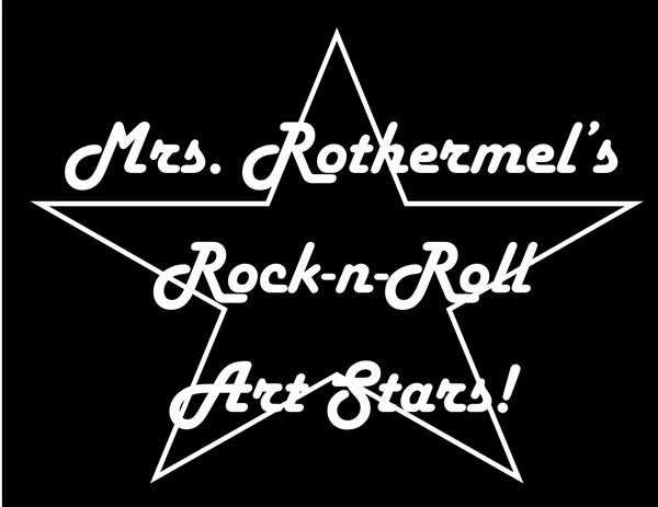 Mrs. Rothermel's Rock-n-Roll Art Stars Black & White Logo
