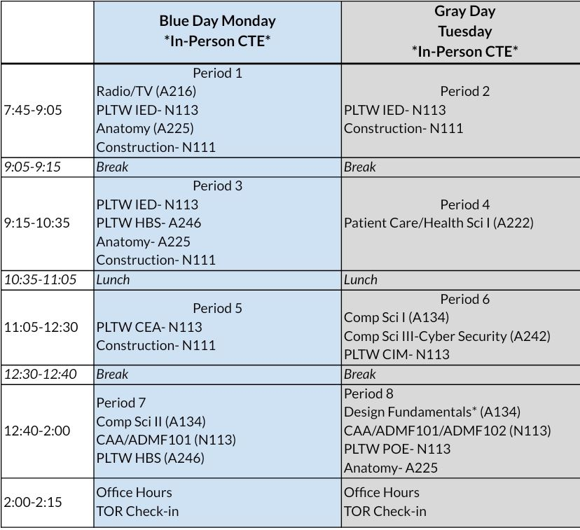 Hybrid Virtual Learning Schedule