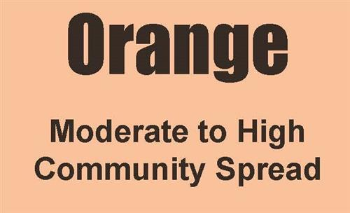 Orange - Moderate to High Community Spread